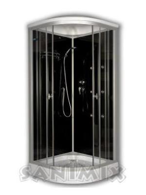 Sanimix, hidromasszázs zuhanykabin, fekete hátfallal 90x90 cm, 22.1058