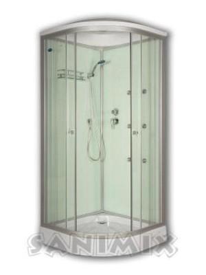 Sanimix, hidromasszázs zuhanykabin, fehér hátfallal 90x90 cm, 22.1058