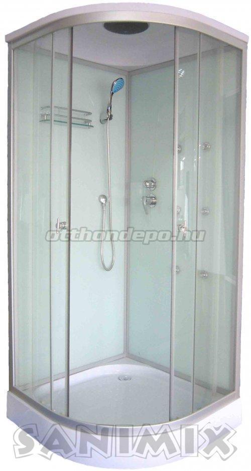 Sanimix, hidromasszázs zuhanykabin, fehér hátfallal 90x90 cm ...