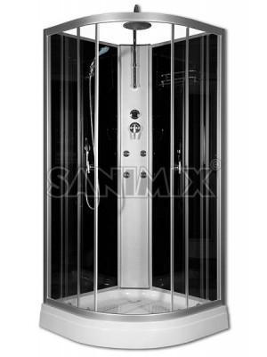 Sanimix, hidromasszázs zuhanykabin, negyedköríves 90*90*222 cm, 22.181 Black