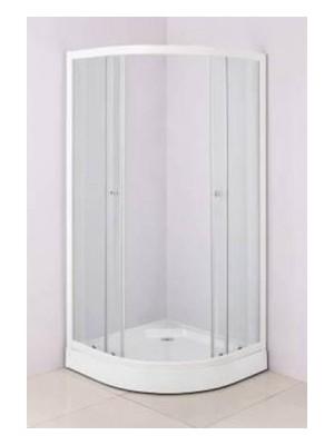 HTB, zuhanykabin, íves, 90x90, natur üveg, fehér keret, 5 mm (8120), tálcával és szifonnal