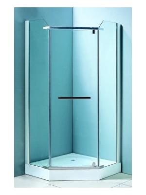 HTB, zuhanykabin, ötszögletű, 90x90, natur üveg, szatén keret, 8 mm (8128)