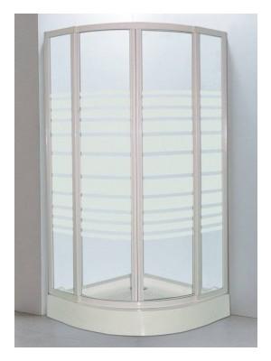 HTB, zuhanykabin, íves, 80x80, csíkos üveg, fehér keret, 5 mm (8130 stripe), tálcával és szifonnal