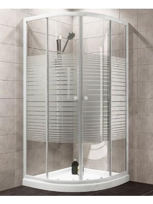 HTB, zuhanykabin, íves, 90x90, csíkos üveg, fehér keret, 5 mm (8120 stripe), zuhanytálcával és szifonnal ( 22.1502 )