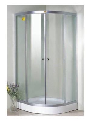 HTB, zuhanykabin, íves, 90x90, natur üveg, króm keret, 5 mm (8120), tálcával és szifonnal