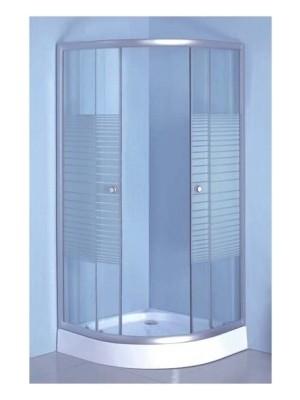 HTB, zuhanykabin, íves, 90x90, csíkos üveg, króm keret, 5 mm (8120 stripe), zuhanytálcával és szifonnal