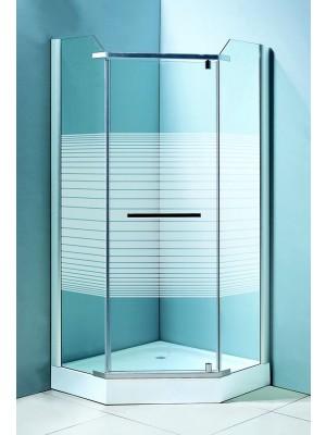 HTB, zuhanykabin, ötszögletű, 90x90, csíkos üveg, szatén keret, 8mm (8128stripe, nyitásirány variálh.), tálcával és szif