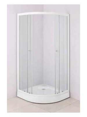 HTB, zuhanykabin, íves, 80x80, natur üveg, fehér keret, 5 mm (8130) I.o.