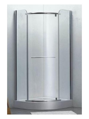 HTB, zuhanykabin, íves, 90x90, matt üveg, szatén keret, 8mm (Primo 8162matt, nyitásirány jobb-bal) tálcával és szifonnal