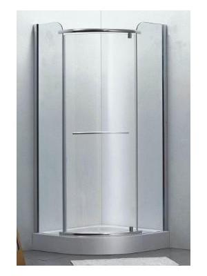 HTB, zuhanykabin, íves, 90x90, natur üveg, szatén keret, 8 mm(Primo 8162 cl.,nyitásirány jobb-bal) tálcával és szifonnal