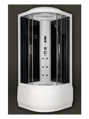 Sanimix, Íves hidromasszázs zuhanykabin üveg hátfallal 90x90x222 cm, 22.1045 black