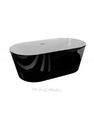 M-Acryl, Victory térben álló kád, fekete, 160x80 cm I.o.