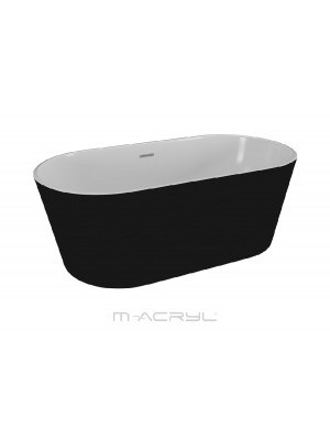 M-Acryl, Victory térben álló kád, matt fekete, 160x80 cm I.o.