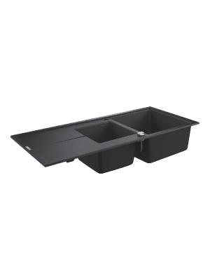 Grohe, K400 gránit mosogató, 2 medencés, gránit fekete, 116*50 cm 31643AP0