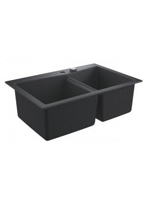 Grohe, K700 gránit mosogató, 2 medencés, gránit fekete, 83,8*55,9 cm 31657AP0