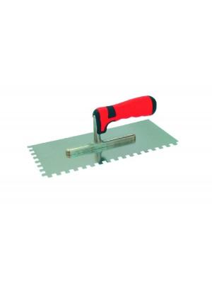 Rozsdamentes fogazott glettelő piros nyéllel (német, profi) SOFT 280x130/6x6mm (cikk : 3213286)