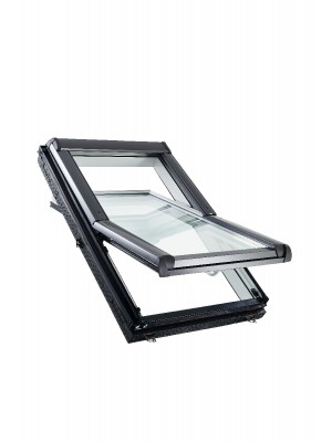 Roto, Tetőtéri ablak műanyag WDF R45 K WD, 2-rétegű üveggel, Hőszigetelő Csomaggal, 74x118 cm (7/11)