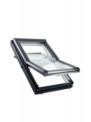 Roto, Tetőtéri ablak műanyag WDF R45 K WD, 2-rétegű üveggel, Hőszigetelő Csomaggal, 74x140 cm (7/14)