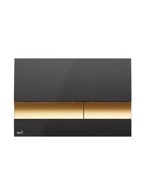Alcaplast, M1728-5 fekete/arany nyomólap falba építhető tartályhoz