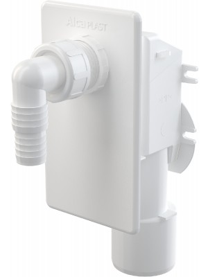 Alcaplast, APS4 Mosógép szifon, falba szerelhető, fehér előlappal