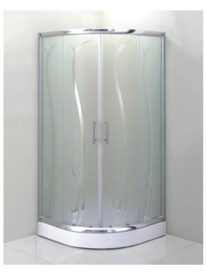HTB, zuhanykabin, íves, 90x90, bambusz üveg, króm keret, 5 mm (Lotus Bamboo) tálcával és szifonnal