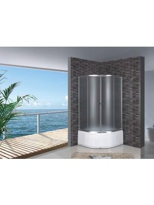 HTB, zuhanykabin, magastálcás 90*90*194,50 cm, natur üveg, króm keret, 5 mm (R521-90) OOP